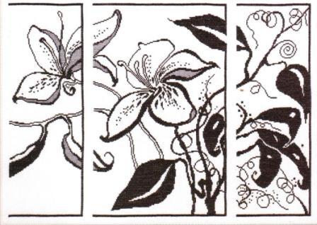графика цветы- вышитые кратины