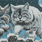 Лунный кот - схема вышивки бисером