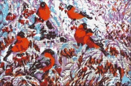 Снегири - схема вышивки бисером (рисунок на ткани)