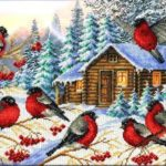 7 снегирей -вышивка бисером