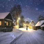 Деревенский зимний вечер
