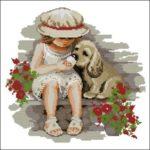 Девочка и щенок сладкоежка