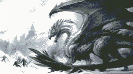 Дракон (монохромная вышивка)